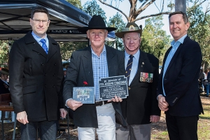 Philip Craddom accepting the plaque as the great nephew of Private Joseph Craddom. Photo: D. Nicolson.