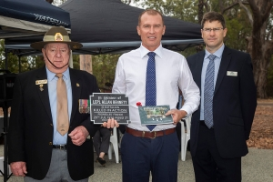 Giles Bennett accepting the plaque as the great great nephew of Lance Corporal Allan Bennett. Photo: D. Nicolson.