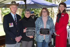 Elizabeth Young accepting the plaque as niece of Private Edward Rawes and Patricia Bell accepting the plaque as niece of Private Frederick Rawes. Photo: D. Nicolson.