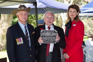 Ronald Pitt accepting the plaque as nephew of Private Norman R. Wright. Photo: D. Nicolson.