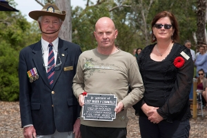 Richard Connolly accepting the plaque as great nephew of Lance Sergeant Mark F. Connolly. Photo: D. Nicolson.
