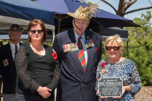 Ellen Anderson-Knight accepting the plaque as the daughter of Warrant Officer 2 Thomas S. Foy. Photo: D. Nicolson.