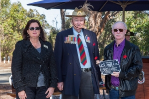 Bradley Hay accepting plaque as the Grandnephew of Private James Hay. Photo: D. Nicolson.