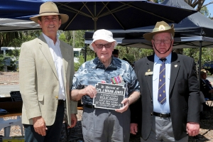 Kevin Jones accepting the plaque as the brother of Corporal James Jones. Photo: D. Nicolson.