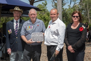 William and Lorne Warren accepting the plaque as the great nephew and nephew of Flight Sergeant Clifford Y. Warren. Photo: D. Nicolson.