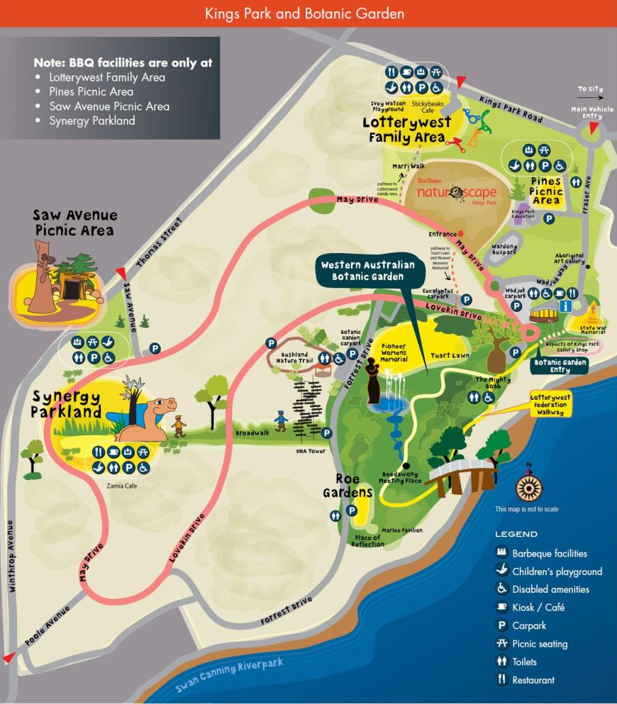 Kings Park Map Botanic Gardens and Parks Authority   Picnic and BBQ Areas Map Kings Park Map