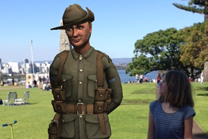 Visitors can take a photo with a virtual digger at the State War Memorial via the 'ANZAC Tom' app.