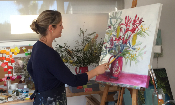 Artist Kate Floyd at work