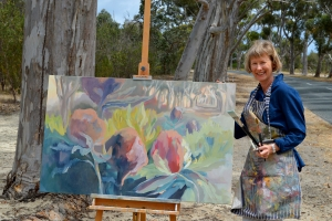 Jen Mellor drew inspiration from the Anzac centenary when creating the oil painting 'Lest we Forget'. Photo: J. Mellor.